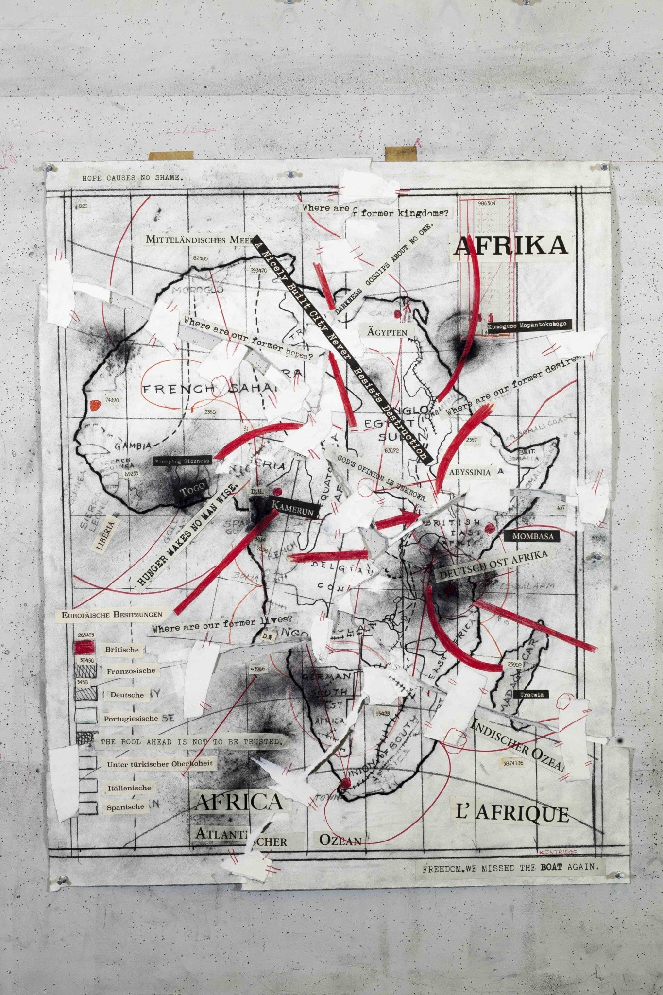 William Kentridge, Drawing from The Head and the Load (Afrika-Africa-L'Afrique), 2018 Charcoal, red pencil, digital print and paper collage, 88.5 x 78.5 cm. Courtesy Goodman Gallery