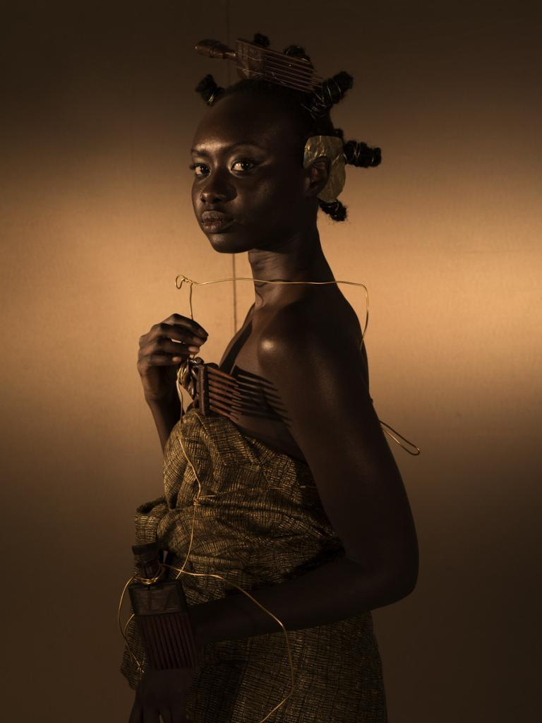 "DJENEBA ADUAYOM Black Gold 3 (2018), from the series ""Kisanola"" Chromaluxe semi-matte metal print 80x120cm - Ed 4 Courtesy of the artist, Didier Claes Gallery & Galerie Number 8"