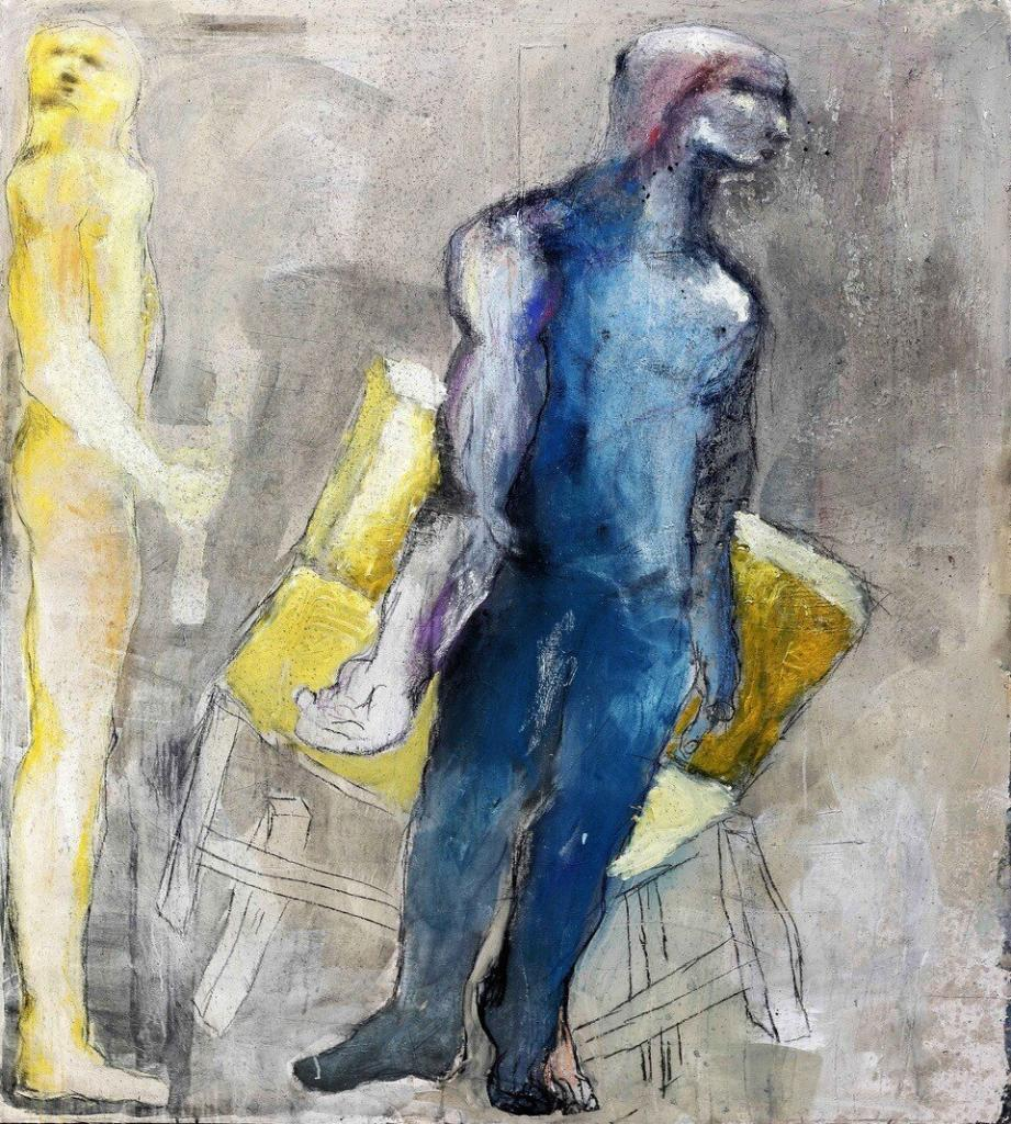 Sadikou Oukpedjo, Chaise jaune, homme bleu, 2019. Mixed technique on canvas. 203cmx183cm Courtesy Sadikou Oukpedjo & Cécile Fakhoury gallery
