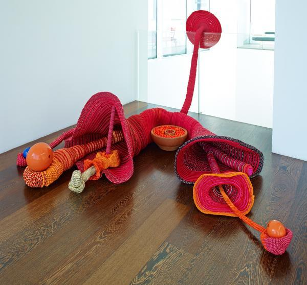 Maria Nepomuceno Untitled (large floor piece), 2013 Ropes, fiberglass, resin and beads 135 x 216 x 238 cm Collection Catherine Petitgas