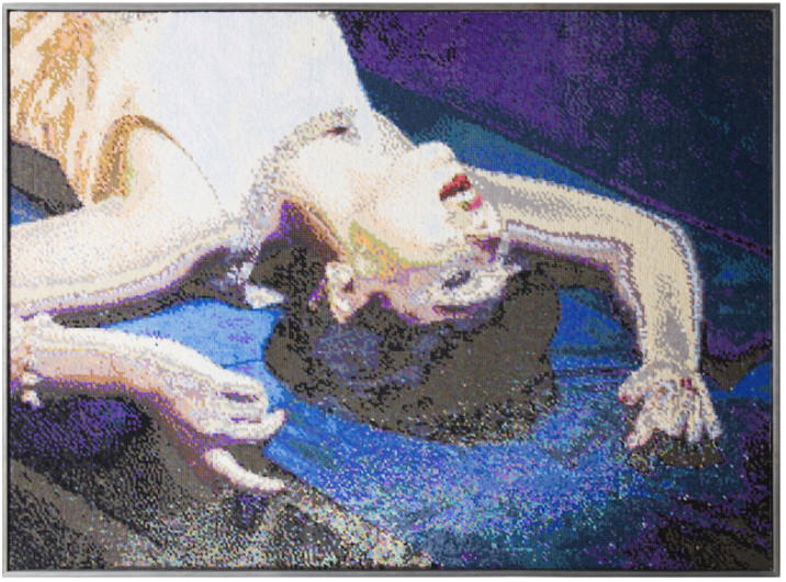 Frances Goodman, The Drama, 2018. Hand-stitched sequins on canvas 38 5/8 × 52 in. 98.1 × 132.1 cm © Courtesy Frances Goodman and Richard Tattinger gallery