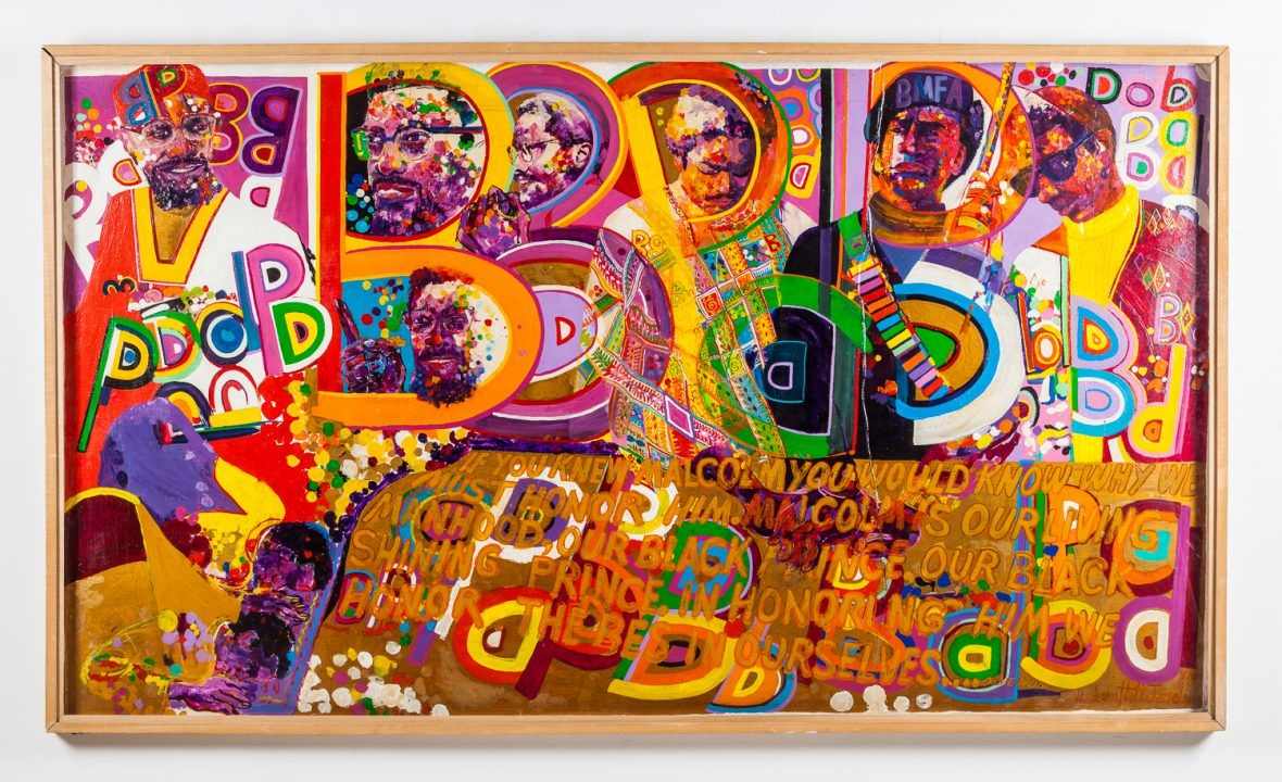 "Wadsworth Jarrell, Homage to a Giant, 1970. Acrylic on board, 48"" x 90"" x 3"" © Kavi Gupta Gallery"