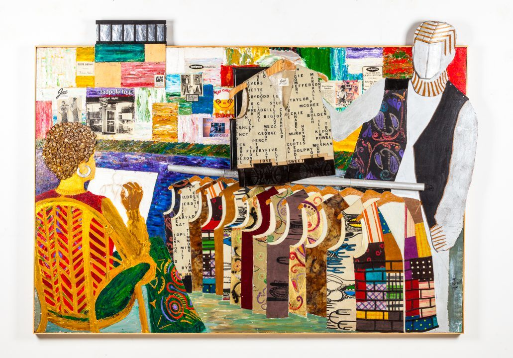 Jae Jarrell, Going to NYC, 1994. Mixed media. © Kavi Gupta Gallery