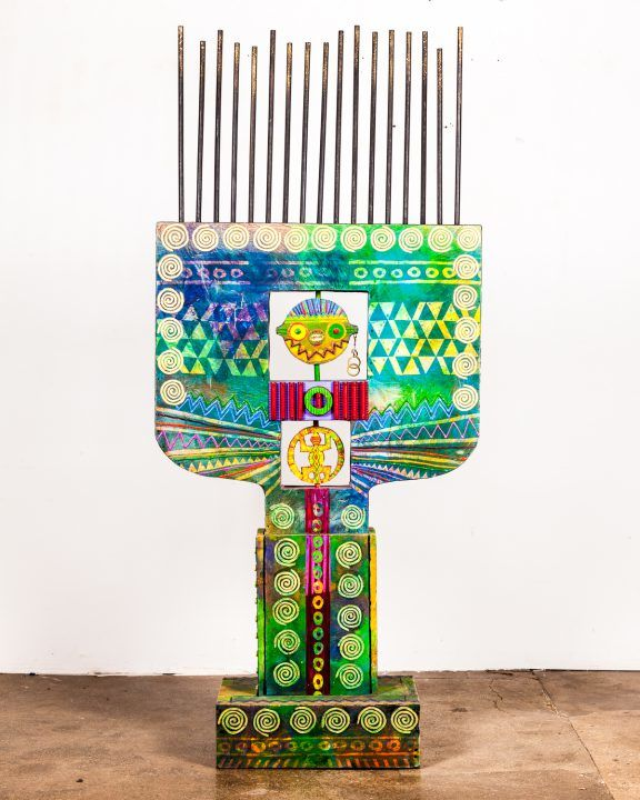 "Wadsworth Jarrell, Extolling a Djwoke Headdress, 1993. Acrylic, wood, and canvas, 87"" x 37"" x 17"" © Kavi Gupta Gallery"
