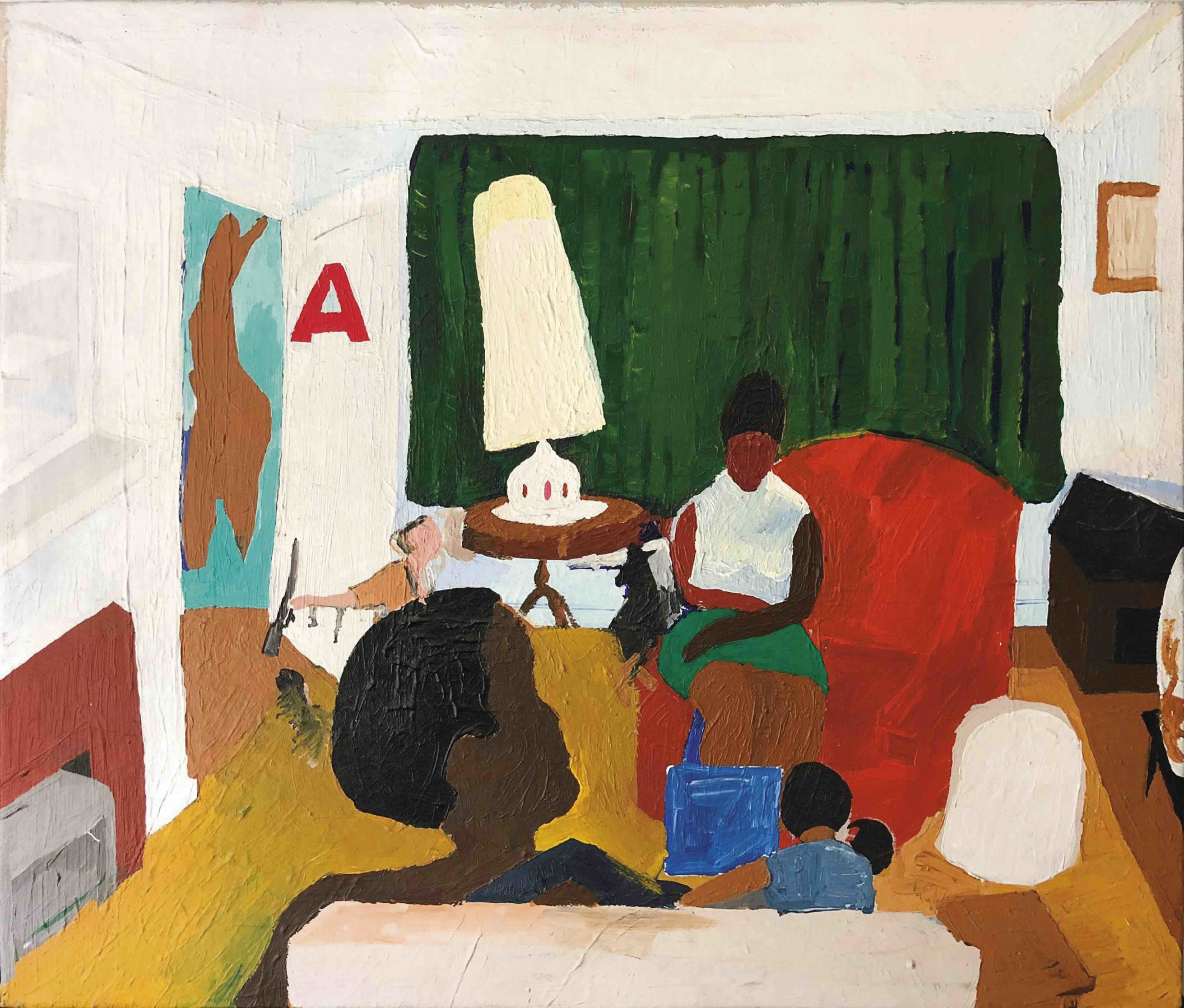 Henry Taylor Untitled (living room with Mama), 2004 Acrylic on canvas 67.3 x 77.5 cm (26.5 x 30.5 in) (HTA 1000) Private Collection © Henry Taylor