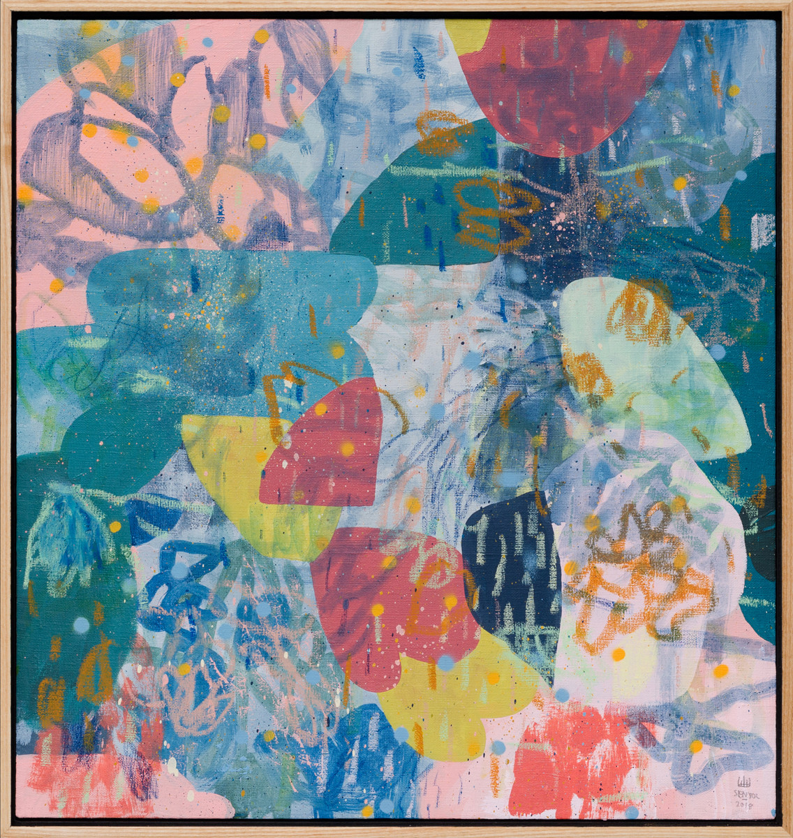 PAUL SENYOL. Plausible, 2018. Mixed media on linen. 440 x 415mm. Framed Courtesy of David Krut Projects