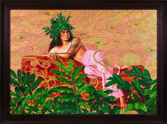 Kehinde Wiley - Portrait of Tuatini Manate III, 2019 HUILE SUR LIN , 180 X 241,5 CM, 70 7/8 X 95 1/8 IN, Courtesy of Galerie Templon