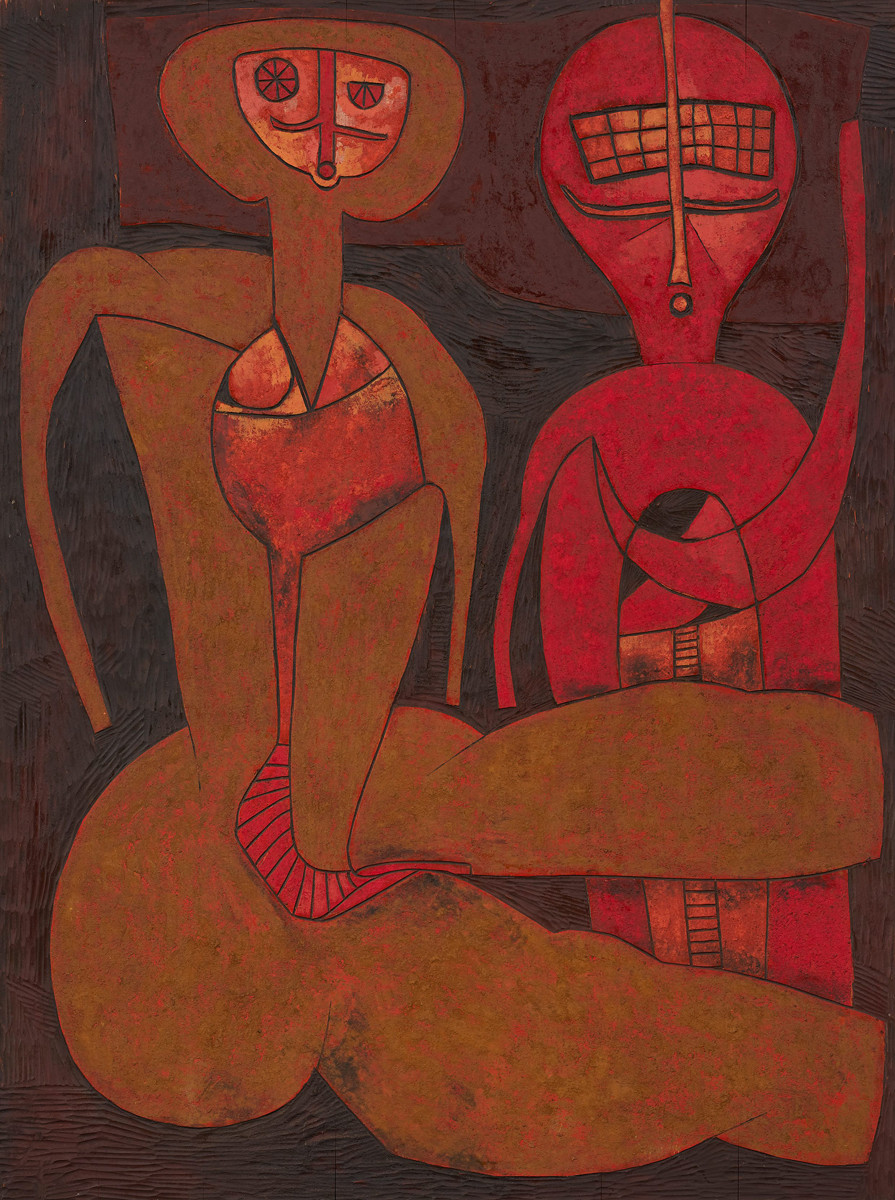 Cecil Skotnes South African 1926–2009 Two figures R 200,000 - R 300,000 carved, incised and painted wood panel 122.5 x 90.5 cm Modern & Contemporary Art Aspire Auction 1st September 2019 Cape Town