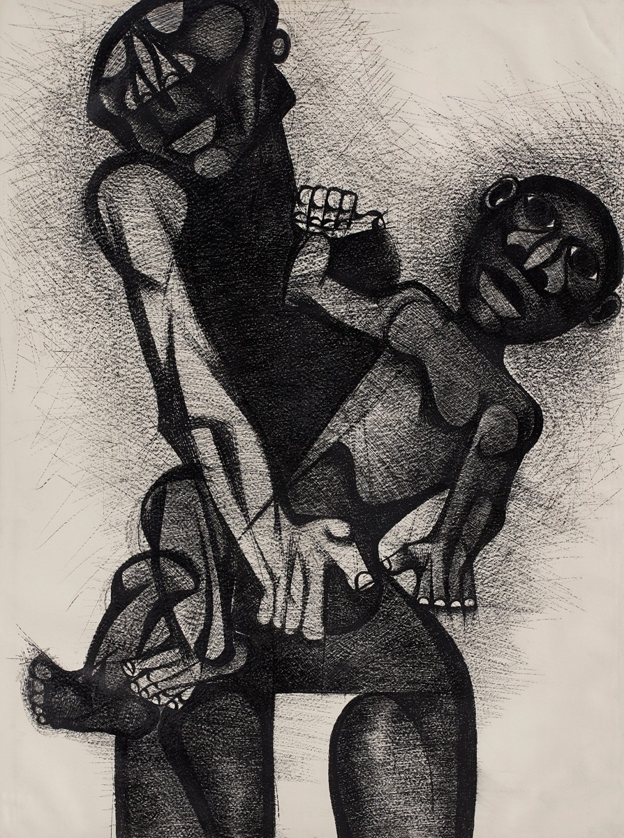 Dumile Feni South African 1942–1991 Mother and child 1986 R 500,000 - R 700,000 charcoal on paper signed and dated bottom left 158 x 119 cm Modern & Contemporary Art Aspire Auction 1st September 2019 Cape Town