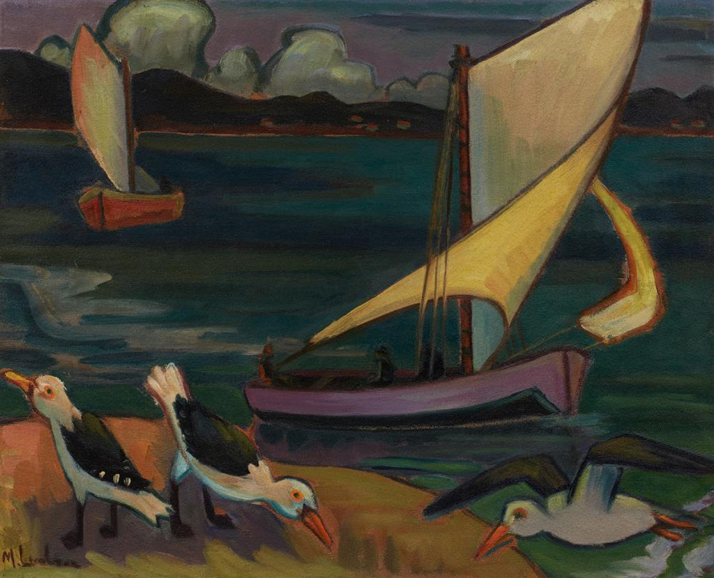 Maggie Laubser, By die See (Seascape with Boats and Birds), 1932 | Sold For R796 600