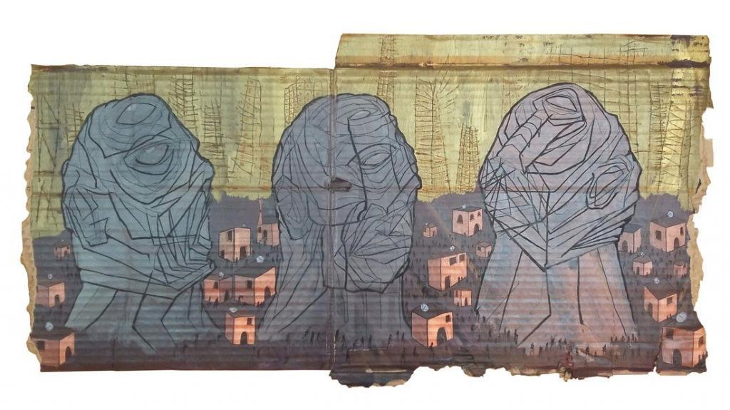 Ali Abdel Mohsen Slow War Mixed media on Cardboard 100 x 35 cm 2017. © Copyright the artist. Courtesy Mashrabia Gallery of Contemporary Art.