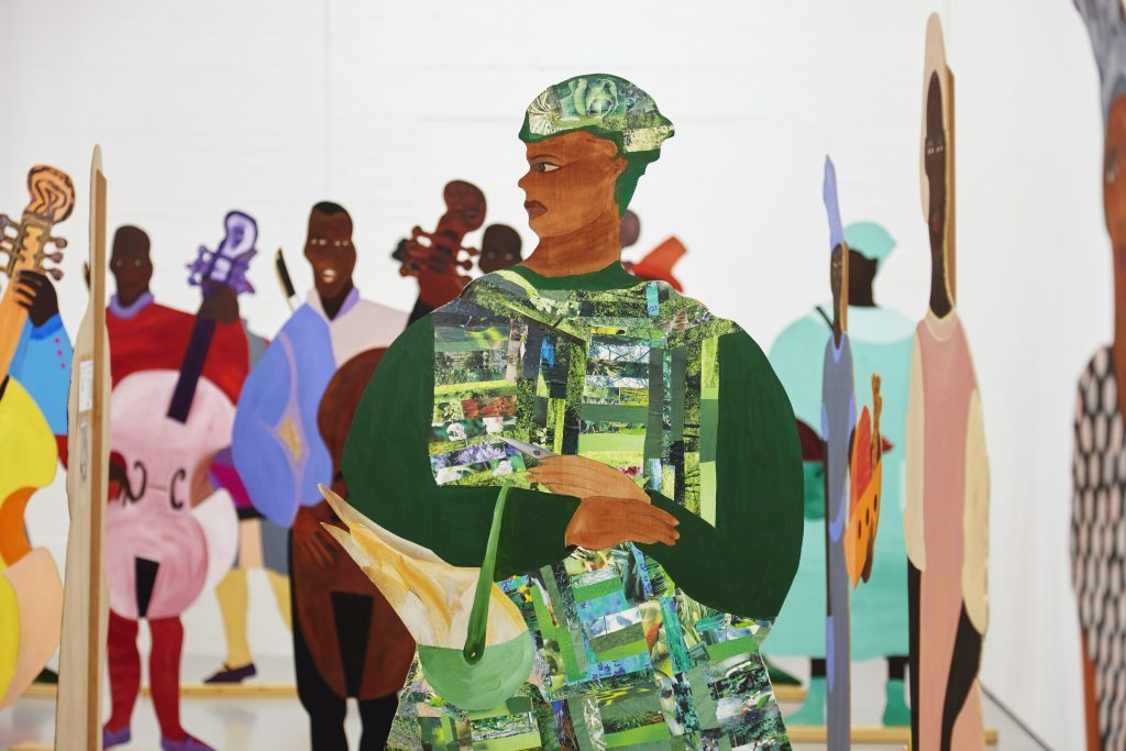 Lubaina Himid, Naming the Money, 2004 Exhibition view Navigation Charts, Spike Island, Bristol, 2017 Courtesy the artist, Hollybush Gardens, London and National Museums Liverpool: International Slavery Museum Photographer: Stuart Whipps