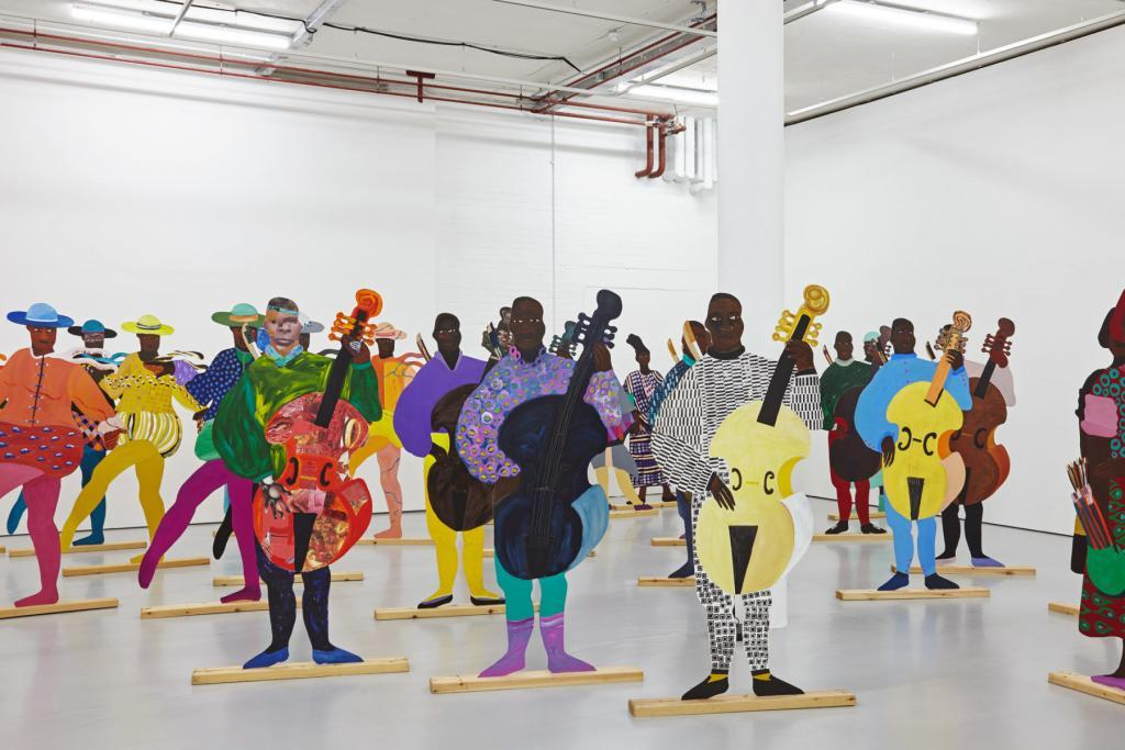 Lubaina Himid, Naming the Money, 2004 Vue de l'exposition Navigation Charts, Spike Island, Bristol, 2017 Courtesy de l'artiste, Hollybush Gardens, Londres et National Museums Liverpool: International Slavery Museum Photo : Stuart Whipps