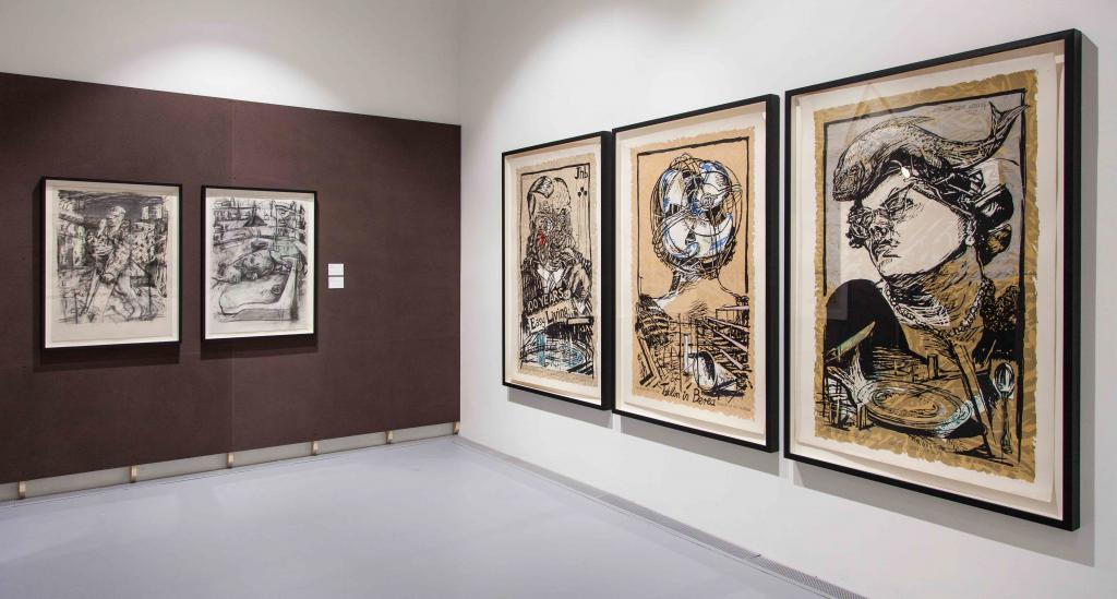 William Kentridge, Putting drawings to work. William Kentrdige, Early Prints And Drawings. Installation View at the Zeitz MOCAA 2019. ©Anel Wessels