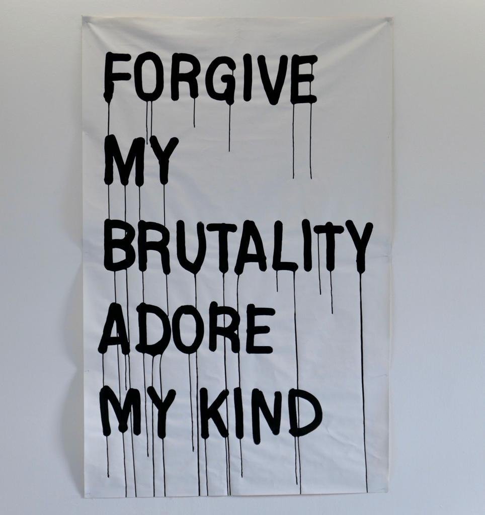 Arthur Francietta, FORGIVE MY BRUTALITY ADORE MY KIND, 2020, Acrylic ink on canvas 591/10×372/5in-150×95cm.