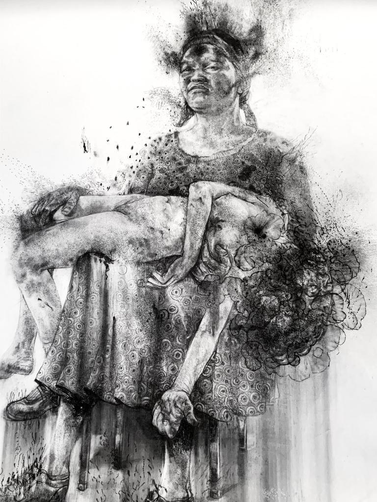 Diane Victor, Mother & daughter. 150 x 115cm. Charcoal and Ash on paper. © Copyright Diane Victor, courtesy Atelier le Grand Village