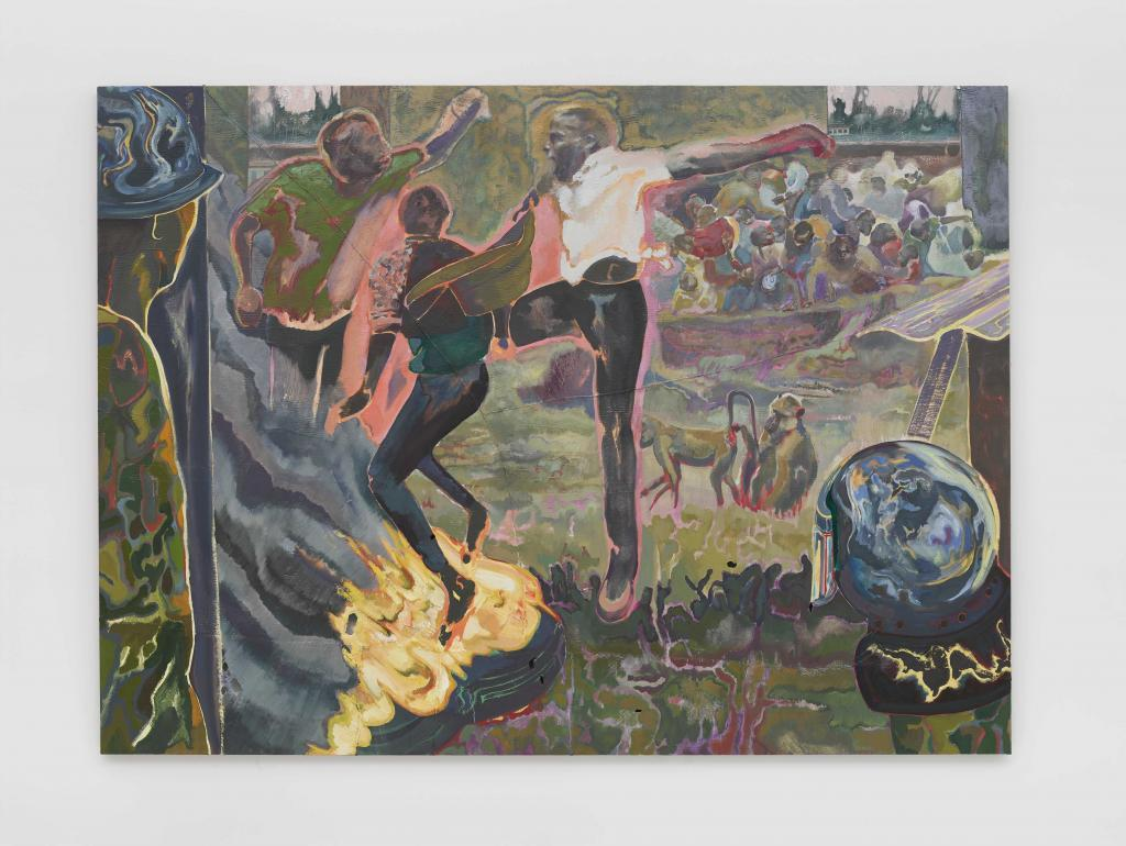 Michael Armitage, The Accomplice, 2019. Oil on Lubugo bark cloth. 220 × 300 cm   © Michael Armitage. Photo © White Cube (Theo Christelis)