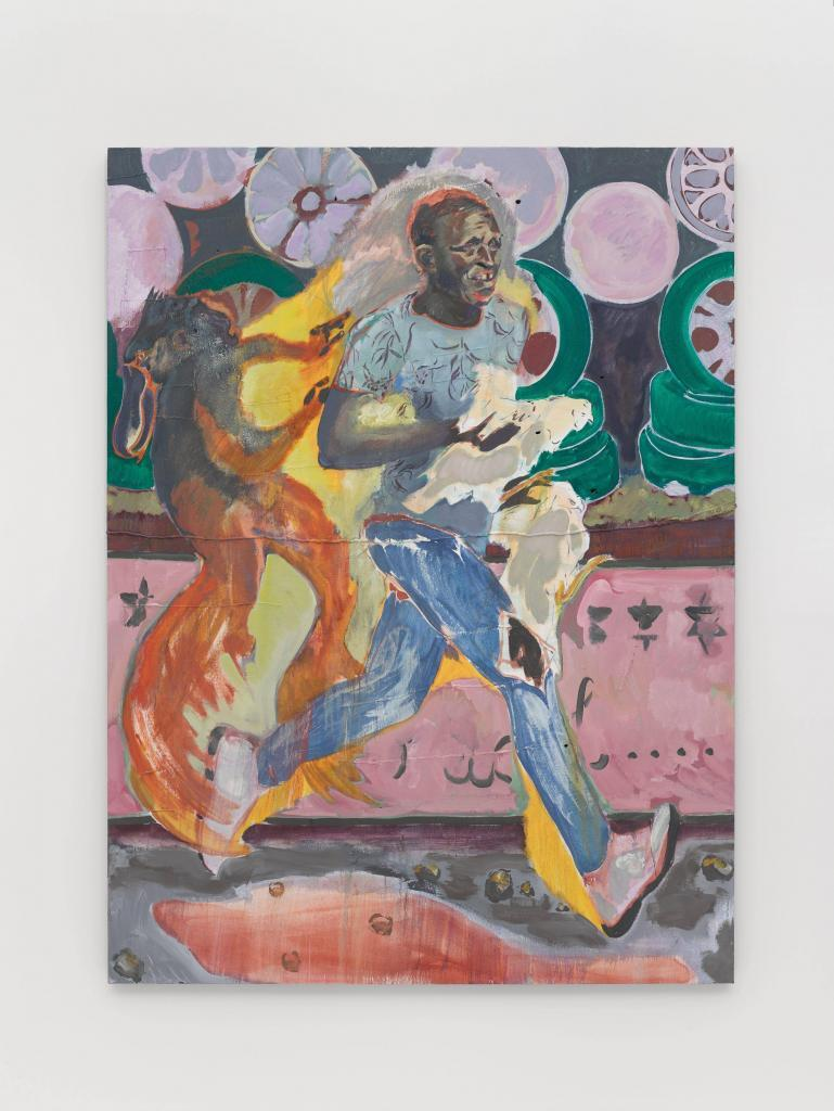 Michael Armitage, The Chicken Thief, 2019 Oil on Lubugo bark cloth . 200 × 150 cm   © The artist. Photo © White Cube (Theo Christelis)  Accomplice Michael Armitage at Norval Foundation