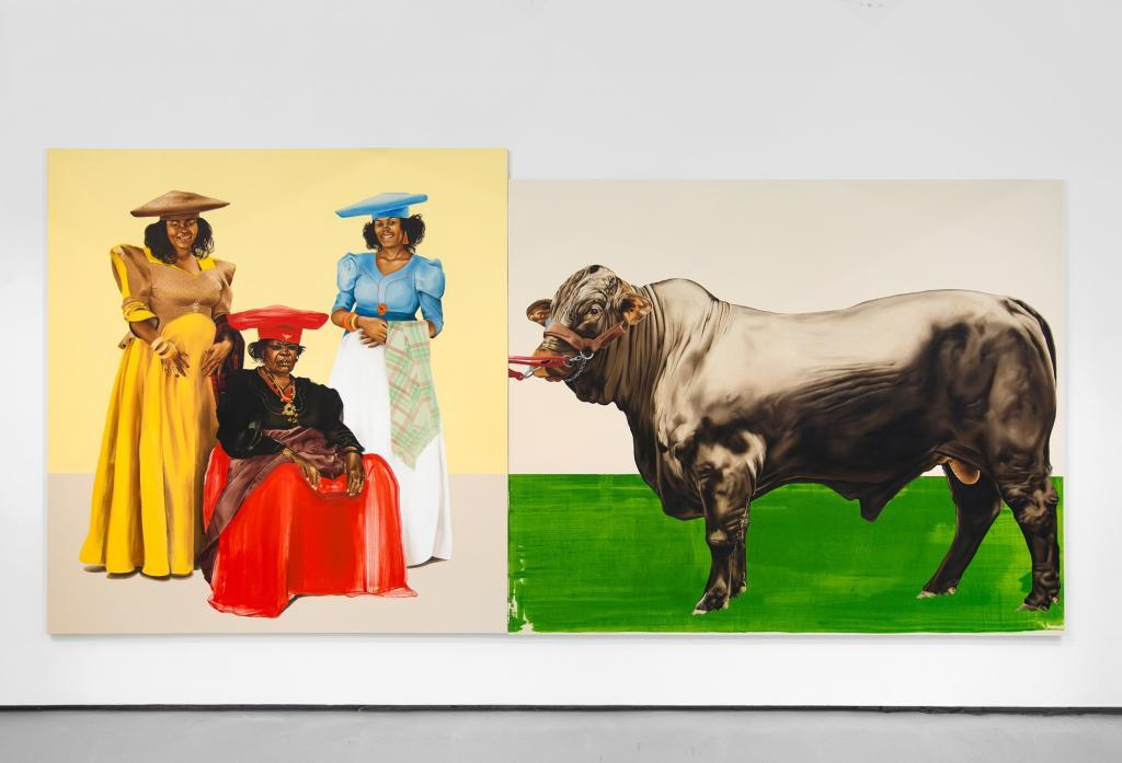 Meleko Mokgosi. Democratic Intuition, Lerato: Philia I, 2016. Two panels: oil on canvas. 96 x 198 1:2 inches. © Meleko Mokgosi. Courtesy of the artist and Jack Shainman Gallery, New York. Meleko Mokgosi: Your Trip To Africa at the PAMM