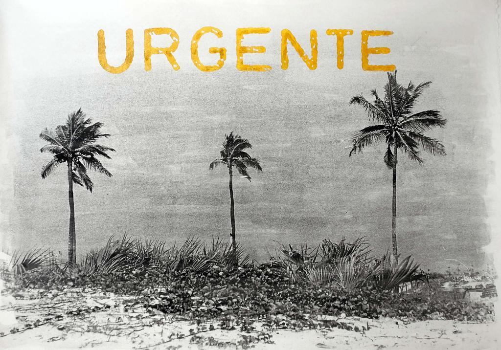 Délio Jass, Sem Valor - Urgente, 2029. Photographic emulsion on cotton rag paper, with handwritten gold leaf embossing. 130 x 95 cm. © The Artist