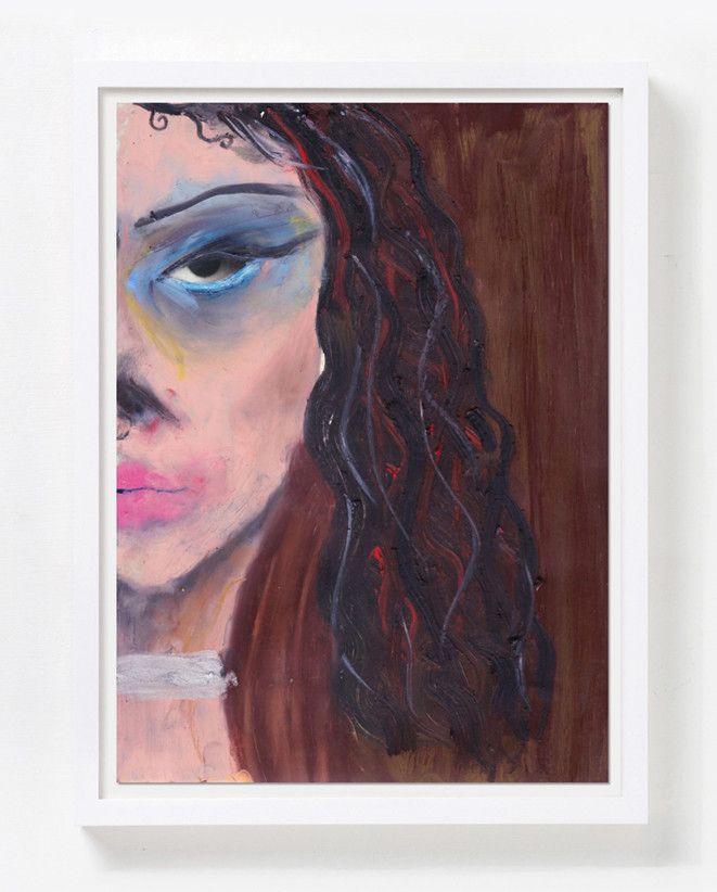 February James Roux, 2020 Oil pastel on magazine paper Sheet size: 33 x 24.1 cm Courtesy of Luce Gallery and the artist