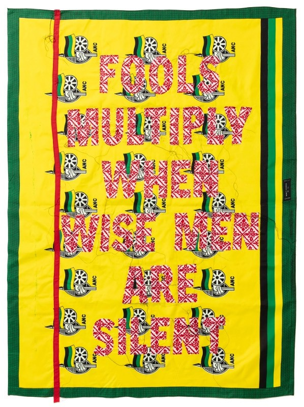 Lawrence Lemaoana, Fools multiply when Wise Men are Silent, 2019, Embroideries on Kanga, 157x117cm, Courtesy of AFRONOVA GALLERY.