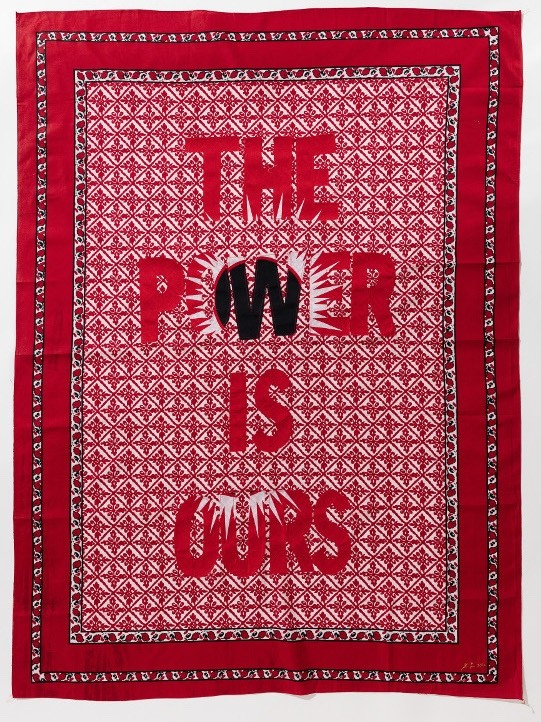 Lawrence Lemaoana, The Power is Ours, 2017, Khanga textile and cotton embroidery, 155xx115 cm, Courtesy of Afronova Gallery.