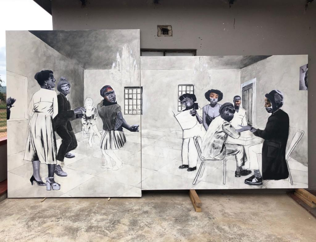 Mahlakung, 2020, collage, charcoal, liquid charcoal and ink on canvas, 250 x 450cm, photographed at the artist's Limpopo studio