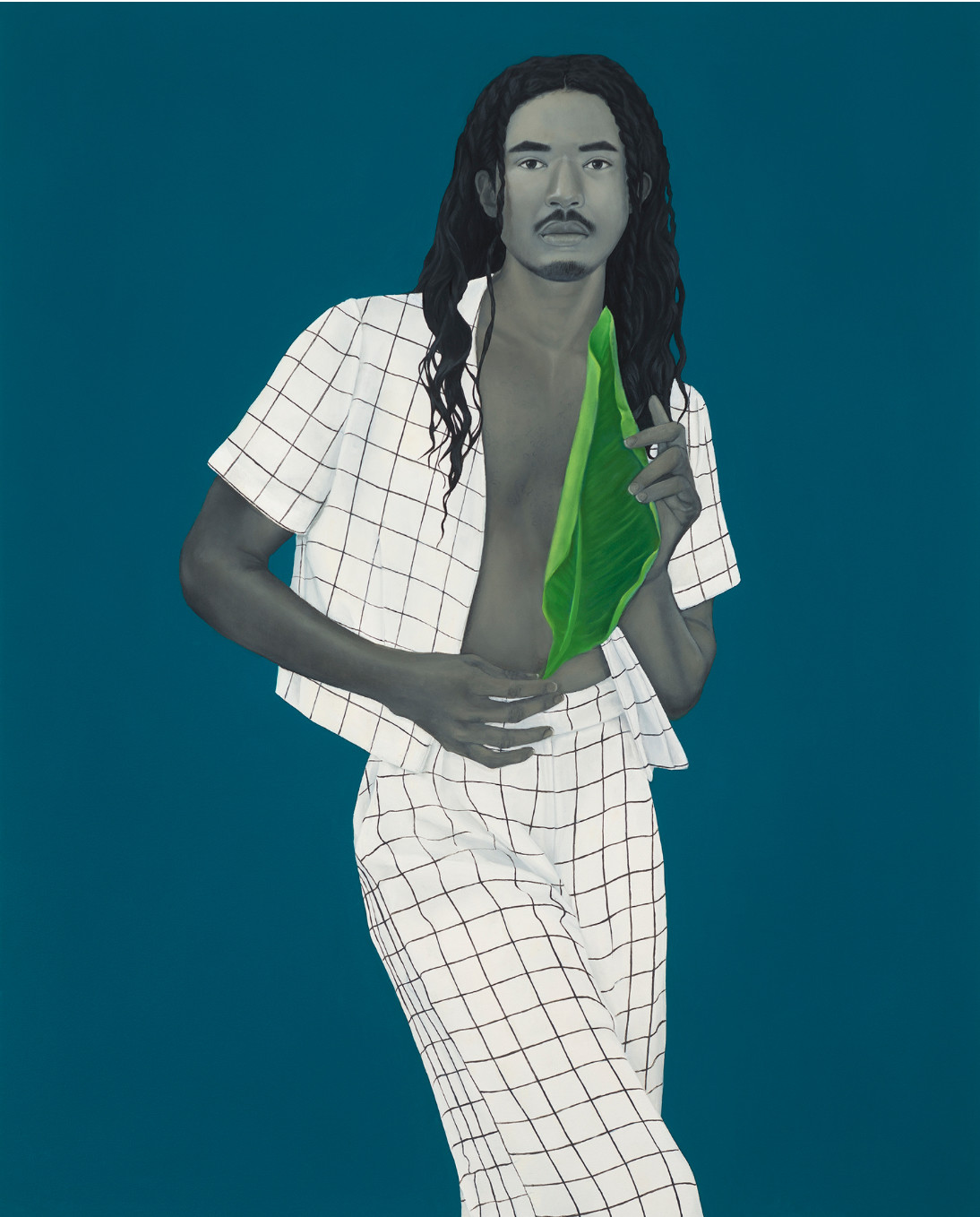 Amy Sherald, The lesson of falling leaves 2017, Oil on canvas 54 × 43 in. (137.16 × 109.22 cm) The Museum of Contemporary Art, Los Angeles Purchase with funds provided by the Acquisition and Collection Committee