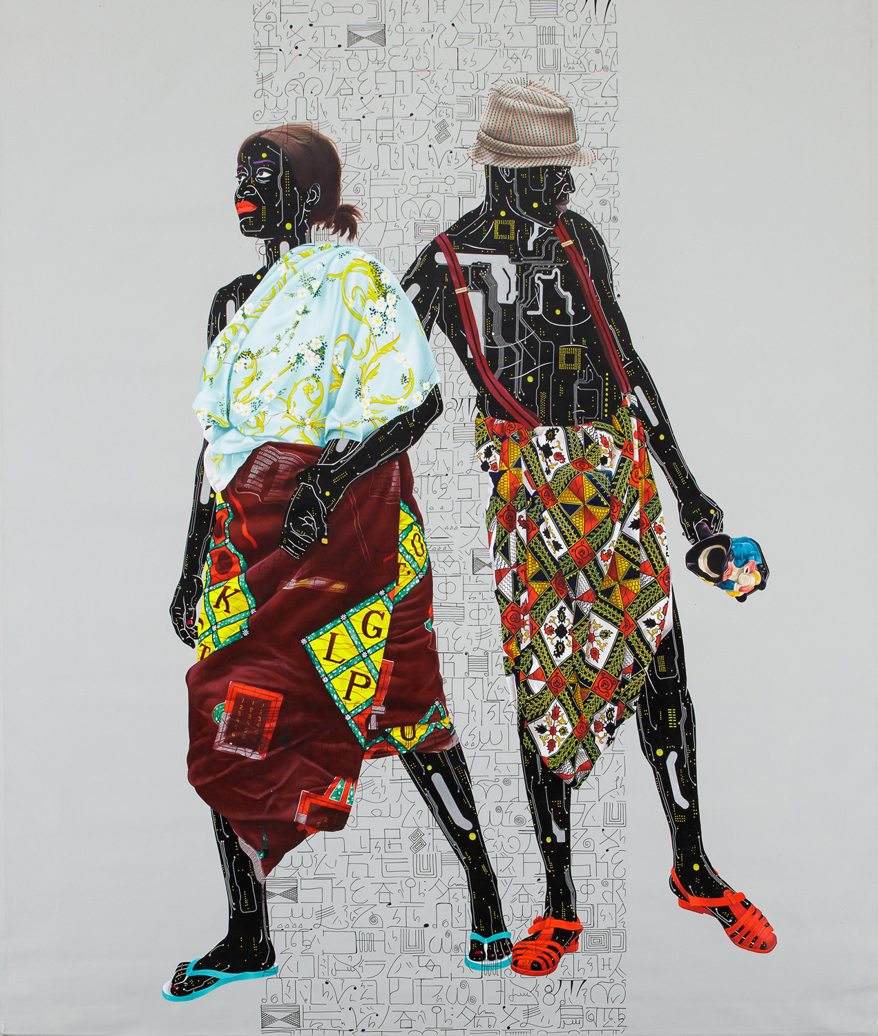 Eddy Kamuanga (born 1991, Democratic Republic of the Congo) 2018 Oil on canvas Signed and dated on the top part of the canvas 204 x 184 cmExceptional performance for Modern and Contemporary Art from Africa at auction in Paris