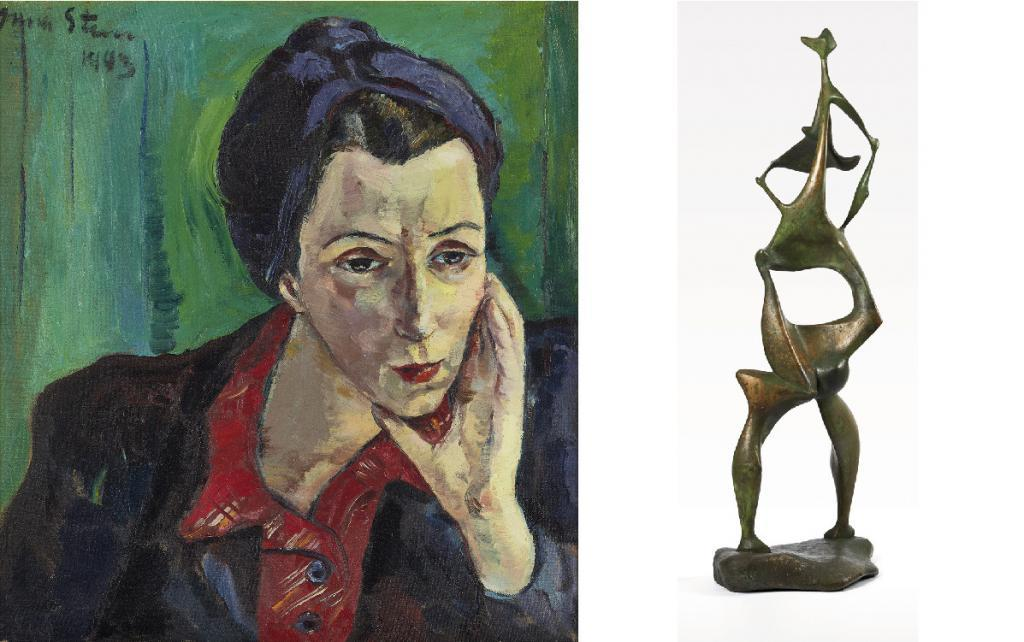 Irma Stern, Portrait of Dora Sowden, 1943 | SOLD FOR: €182,000 Edoardo Villa, Figure with Drapery (Revised edition), 1953, cast in c.2000 | SOLD FOR: €54,600  Piasa Auction