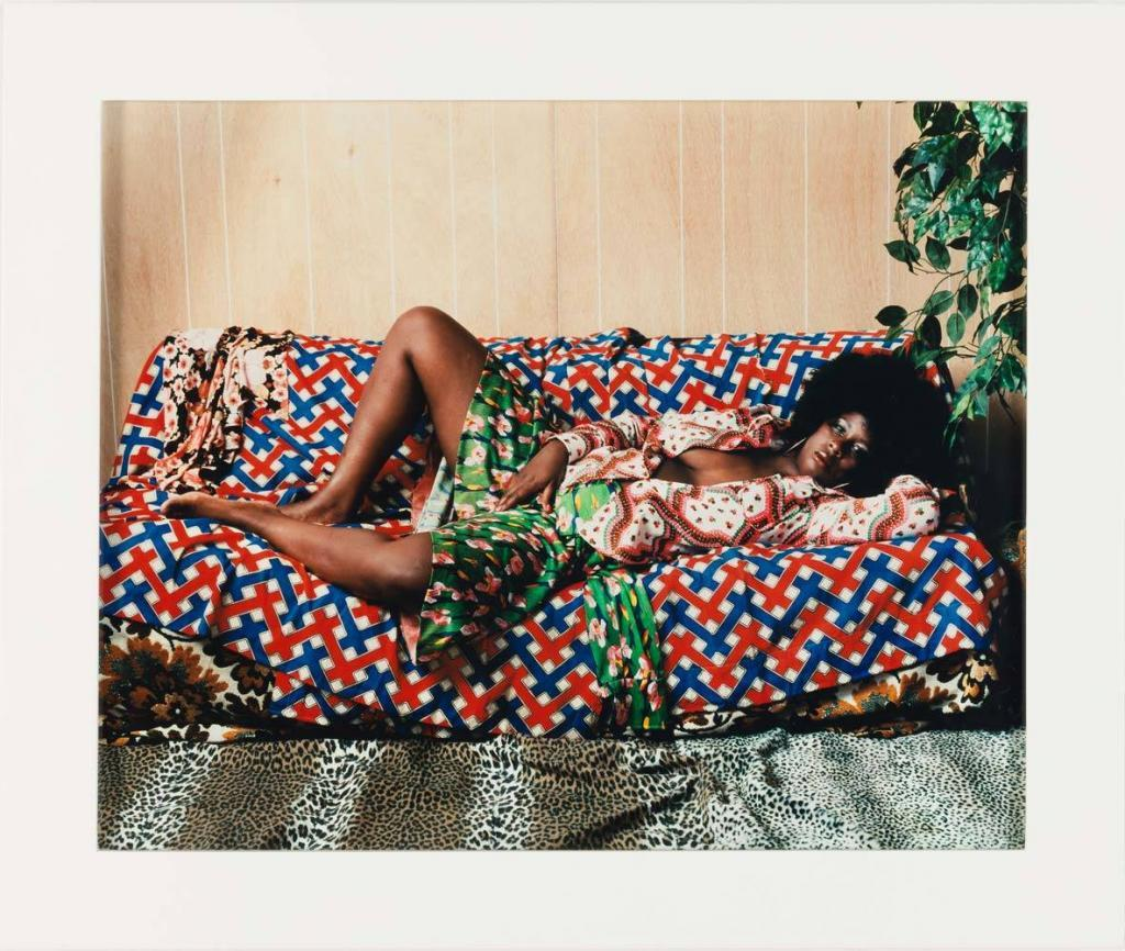 Mickalene Thomas ( b. 1971 )Afro Goddess with Hand Between Legs, 2006C-print16 × 20 in.The Studio Museum in Harlem; Museum purchase with funds provided by the Acquisition Committee2007.6.3