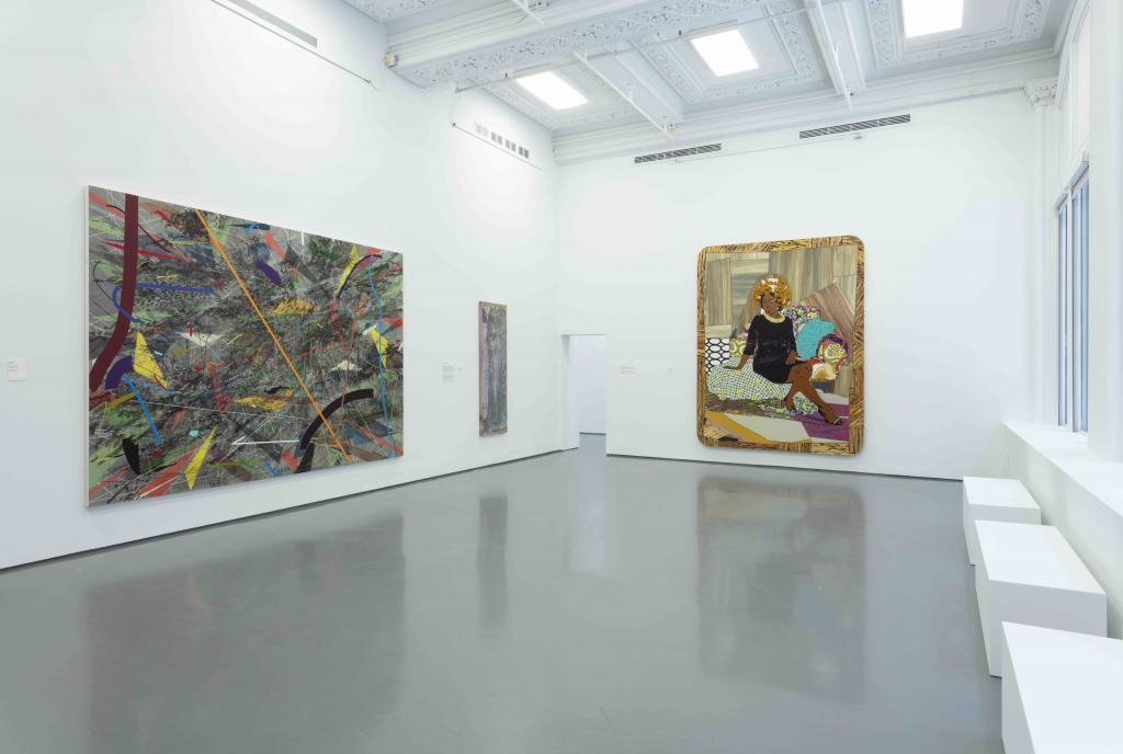 Installation view, RELATIONS: Diaspora and Painting, 2020, PHI Foundation. From left to right: Julie Mehretu, Mumbo Jumbo, 2008. Astrup Fearnley Collection; Frank Bowling, Bunch, 1979/2012. Courtesy of the artist, Alexander Gray Associates, New York; Marc Selwyn Fine Art, Los Angeles; Mickalene Thomas, I Learned the Hard Way, 2010. The Montreal Museum of Fine Arts, Purchase, the Museum Campaign 1988-1993 Fund © PHI Foundation for Contemporary Art, photo: Richard-Max Tremblay.