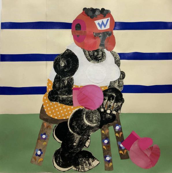 TOY PUNCHER, 2020 Charcoal, plastic, fabric, collage on paper 42 x 42 in 106.7 x 106.7 cm Copyright The Artist