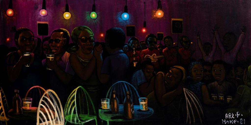 Moké, Bar Nocturne, 1981, Oil on flour sack, 95 x 188 cm, © Kleinefenn, courtesy of Galerie MAGNIN-A, Paris