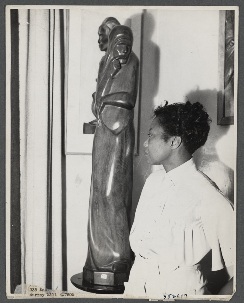 """""""Augusta Savage with her sculpture Envy"""", 1937. Schomburg Center for Research in Black Culture."""