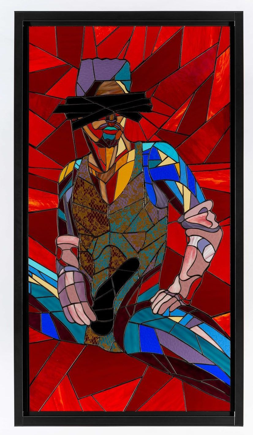 Athi-Patra Ruga, Castrato As [the] Revolution, 2020. Stained glass, lead, and powder-coated steel. Artwork size: 170 x 90 cm. Framed size: 180 x 100 x 4 cm © Credit Photo Matthew Bradley. Courtesy of WHATIFTHEWORLD