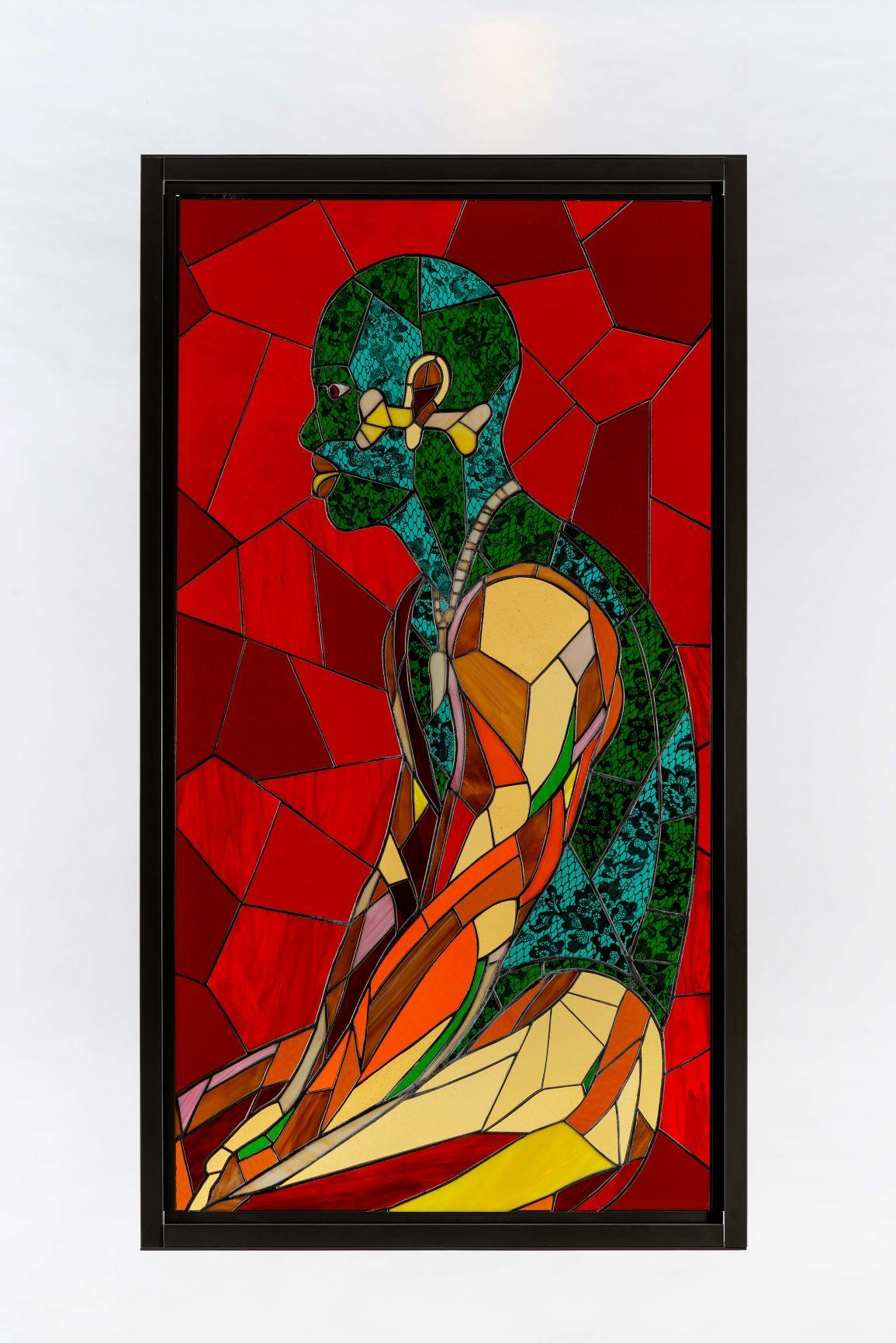 Athi-Patra Ruga, Yellow Bone, 2020. Stained glass, lead, and powder-coated steel Artwork size: 170 x 90 cm. Framed size: 180 x 100 x 4 cm © Credit Photo Matthew Bradley.  Courtesy of WHATIFTHEWORLD Gallery