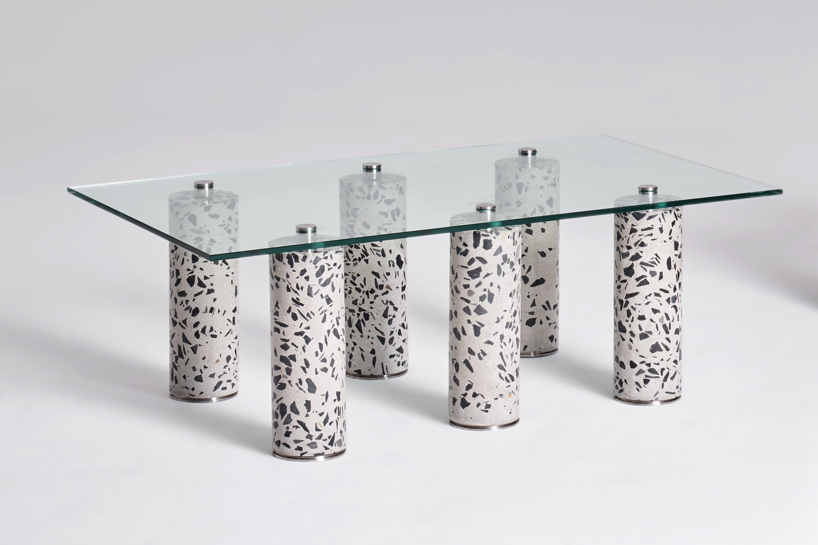 Contemporary coffee table 6, 2019. Limited edition 126cm (L) x 74cm (W) x 45cm (H) Concrete, Stainless Steel, Glass. © Oliver Whyte.