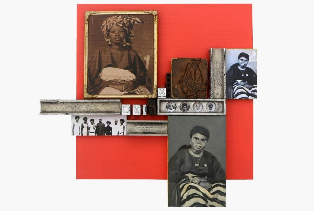 Kelani Abass Scrap of Evidence (Ariyo) 2020 Mixed media on wood (Letterpress type, oil on canvas, digital print, ancient frame, rubber block) 34 x 37 cm © Courtesy 31 Project African art presented during 1-54 Contemporary African Art Fair