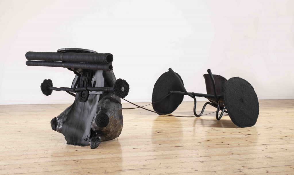 Cow Mash's boleta le bofefo (2019-2020) is a large sculptural work featuring a woman toiling for knowledge. Image courtesy Smac gallery and copyright of the artist. Exhibition curated by Gcotyelwa Mashiqa