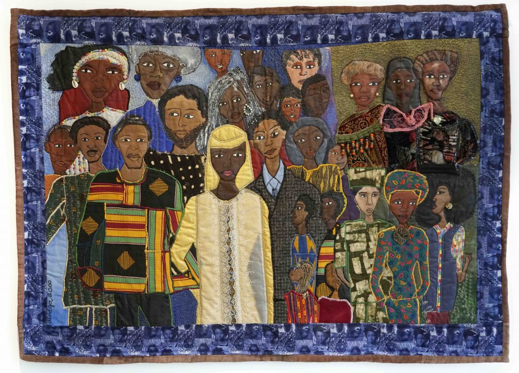 Dindga McCannon, The Wedding Party #2, The History of Our Nations is the Stories of Our Families, 2000, Mixed media quilt, 89 x 117 cm. Courtesy Fridman Gallery Presented at 1-54 Contemporary African Art Fair with christie's