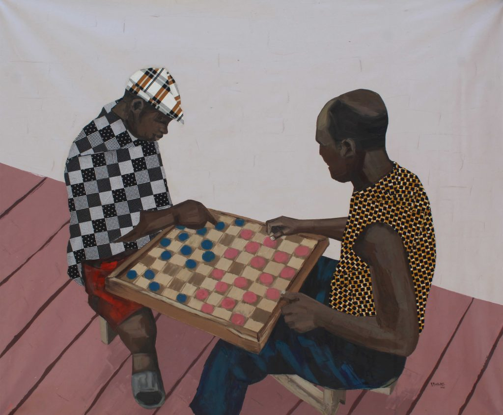 James Mishio Draft Time, 2021 Acrylic, Oil and Fabric on Canvas 127 x 152.4cm
