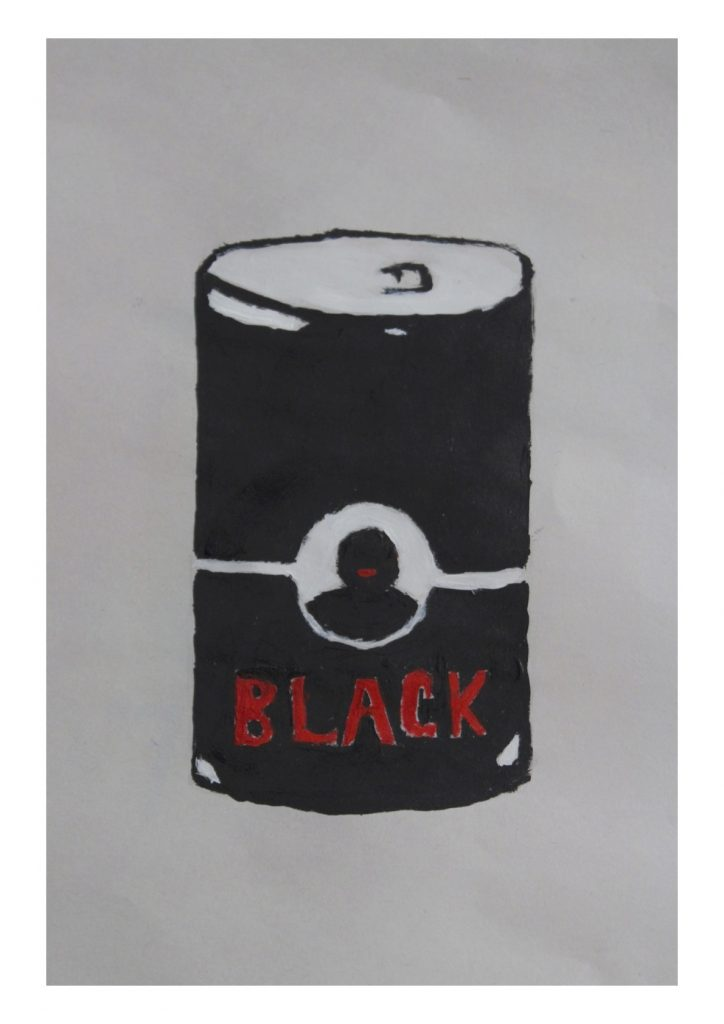 The work Outrage by K.Skit touches on the manner in which 'blackness' is packaged and consumed and made palatable for the white gaze.