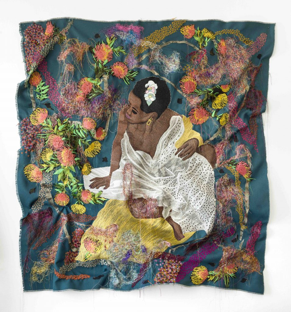 Kimathi Mafafo, Awaiting I, 2020, Hand and machine embroidery on fabric, 136 x 127 cm. Courtesy of Ebony Curated. Presented at 1-54 Contemporary African Art Fair with christie's