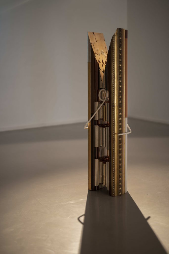 Usha Seejarim's Art History at Home (2021) is a giant peg fashioned from disused frames. Image courtesy Smac gallery and copyright of the artist.