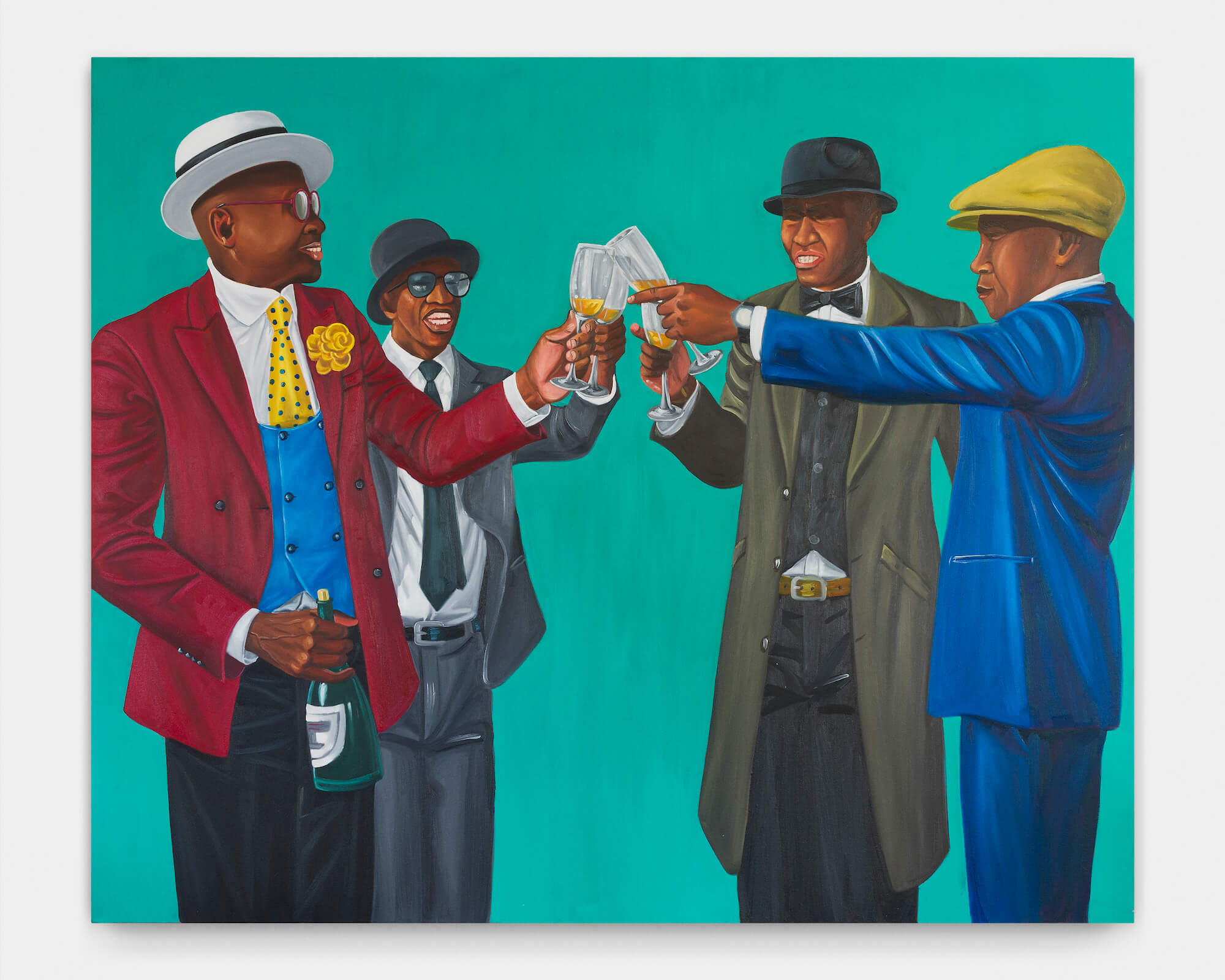 Zemba Luzamba is a firm favourite at auctions. His work titled League of Gentlemen was offered on by Ebony/Curated gallery